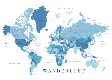 Wanderlust world map blue