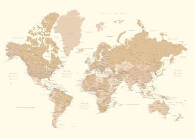 Detailed world map Merce