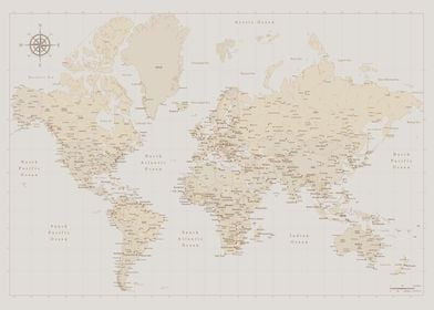 Classic vintage world map