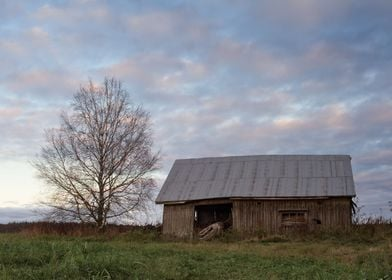 Old Barn House and Sunset