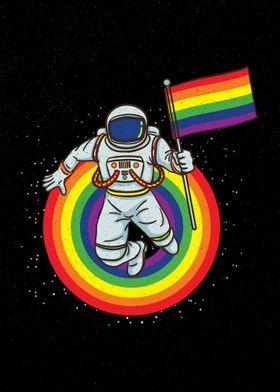 Astronaut with LGBT Flag