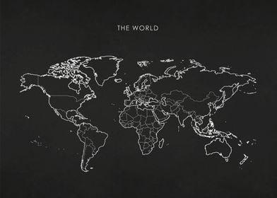 Silver World Map