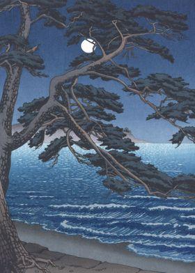 Moon Over Enoshima Beach
