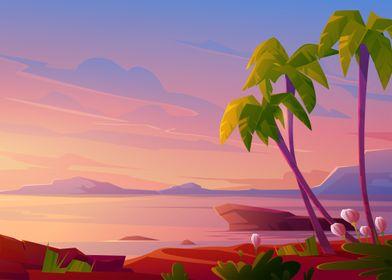 Anime Sunrise Beach