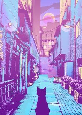 Cat Japan Street City Pop