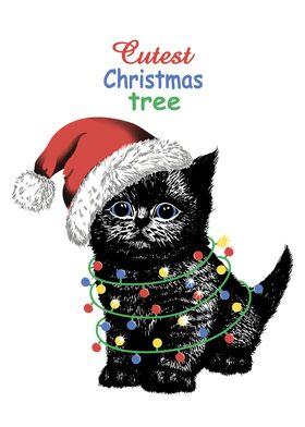 Black kitten in Santa hat