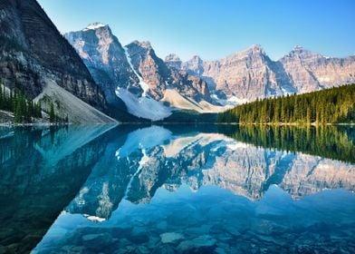 Mountains at lake nature