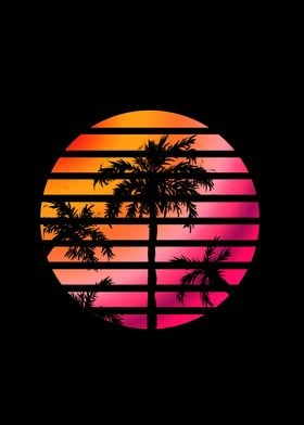 Palm Trees Sunset Circle