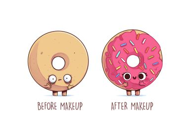 Before After Makeup Donut