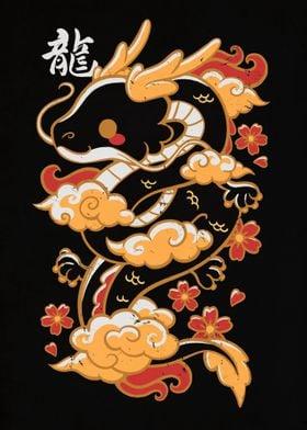 Kawaii gold dragon