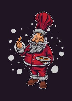 Chef santa offers food