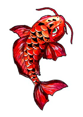 Red Koi Carp Fish Tattoo