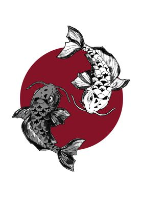 Japanese Koi Fish Circle
