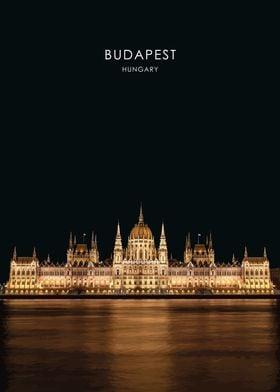 Budapest Parliament Illustration Hungary Travel Poster Budapest Art Print