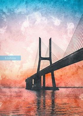 Lisbon Watercolor Displate