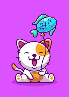 Kawaii Kitten Poster Art Print By Kunyah Displate