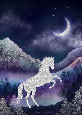 Moonlit Wild Horse