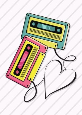 Cassette Love with heart