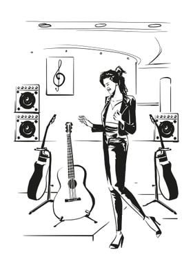 Guitar shopping Woman