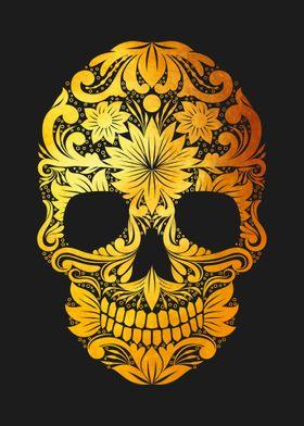 Death Skull gold on black