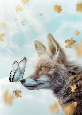 Fox and Blue Butterfly