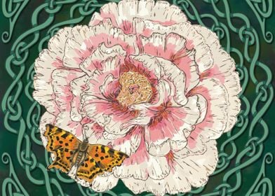 Peony and Comma Butterfly