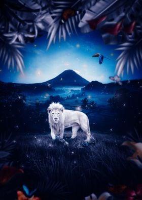 White Lion Jungle Night