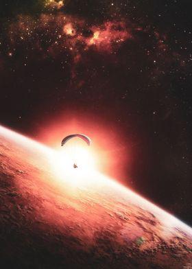 Space Parachutist in Sun