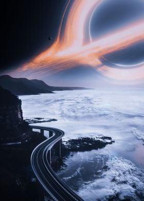 Earth rod to black hole