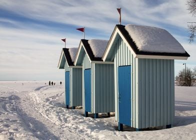 Three Old Beach Huts