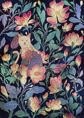 Cat and Magnolia
