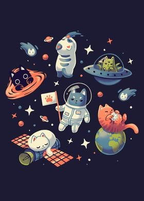 Cute Kitty Cats in Space
