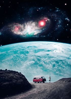 Red van in front of earth
