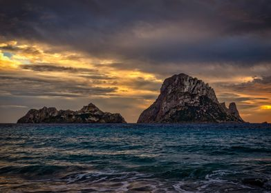 Landscape sea sunset ibiza
