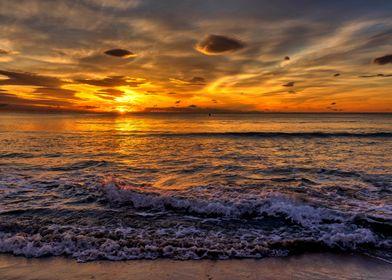 Beach sunrise landscape