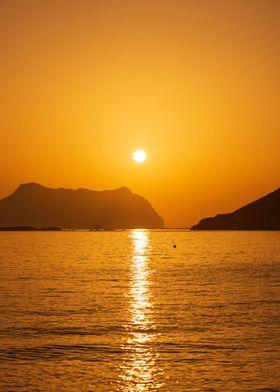 Beach Sunrise Orange Sky