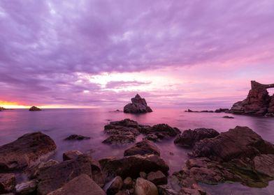Beach Sunrises Violet Sky