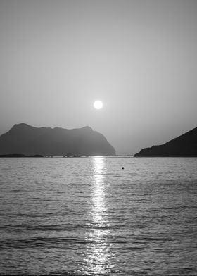 Black and white sea sunset