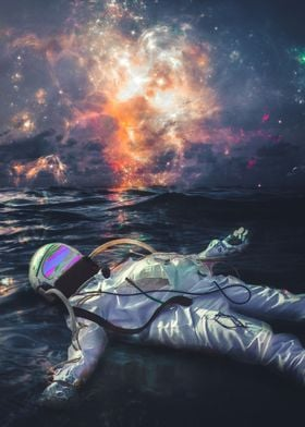 Astronaut Floating in Sea