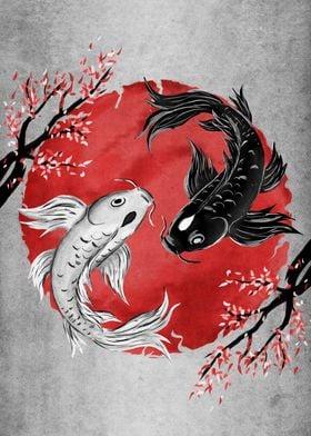 Koi Fish Yin Yang Rubyar Poster By Ruby Art Displate