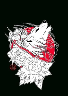Japanese wolf and flowers