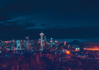 Skyline Seattle neon style