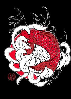 Koi carp and lotus