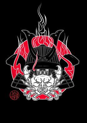 Crab and samurai helmet
