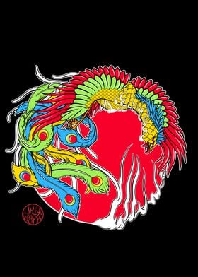 Japanese Phoenix and fire