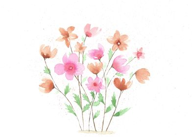 Peach and pink flowers
