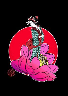 Geisha in a lotus flower