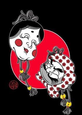 Hyottoko and Okame masks