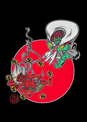 The gods Raijin and Fujin
