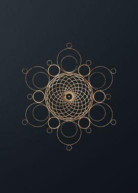 Gold Geometric Glyph Sign